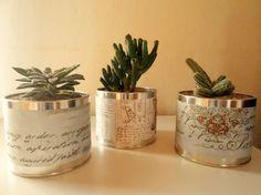 Latas decoradas con plantas