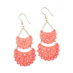 Etched Crescent Earrings Coral ($31) ❤ liked on Polyvore featuring jewelry, earrings, accessories, coral jewellery, peach earrings, handcrafted jewelry, hand crafted jewelry and coral earrings