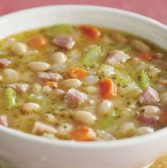 Put a pot of Ham and White Bean Soup on the stove to simmer and you're bound to have people asking when dinner will be ready. Dairy-free.