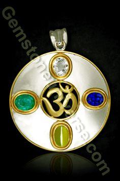 Aum and the Circle of Life-The Divine Chatur Ratna Pendant  Circle of Life Om Pendant Talisman with 4 Gemstones representing the 4 pillars of life  Circle of Life Om Pendant Talisman with Precious Jyotish Gemstones