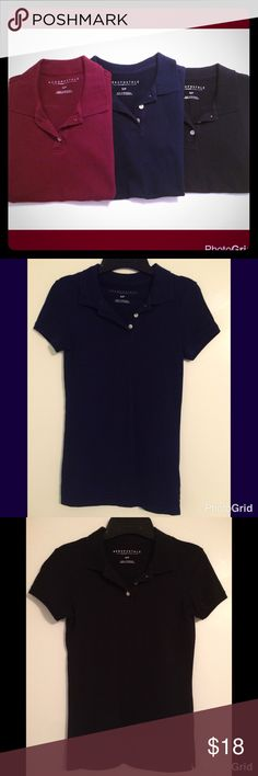 Three Aeropostale Solid Uniform Piqué Polos Three Aeropostale Slim Fit Solid School Uniform Piqué Polos: - one black - one navy blue - one dark red These Solid Uniform Piqué Polos feature a graphic-free design, a 3-button placket, and ribbed trim at the collar and cuffs. Size Small. 95% Cotton 5% Spandex. Aeropostale Tops Tees - Short Sleeve