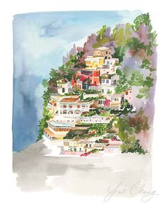 Positano Watercolor Art Print by YaoChengDesign on Etsy