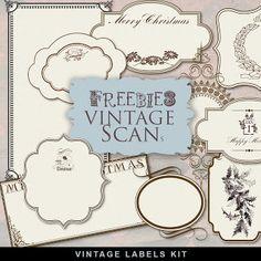 Etiquetas Freebies Antiguo Navidad