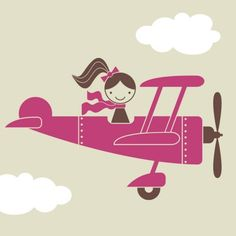 Airplane Girl Vinyl Wall Decal Kids Baby Nursery by graphicspaces