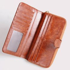 Women Wallets Brown Leather Clutch Zipper Wristlet Checkbook Organizer