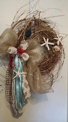 Coastal  inspired wreath for year-round by JoyofCreationWreaths