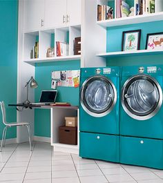 aqua electrolux washer and dryer Turquoise Laundry Rooms, Laundry Appliances, Painted Appliances, Aqua, Amazing Bathrooms, Washer And Dryer, Home Remodeling, Home Improvement, Stuff To Buy