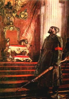 """""""It Has Come to Pass"""" (""""Inevitable"""", or """"Bolshevik Soldier Stands Guard in the Winter Palace"""") by Sergei Lukin. Soviet Red Guard in the empty throne room of the Winter Palace, October Revolution. Communist Propaganda, Propaganda Art, Russian Revolution 1917, Tsar Nicolas Ii, Bolshevik Revolution, Civil War Art, Social Realism, Winter Palace, Soviet Art"""