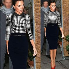Long Sleeve Houndstooth Bodice and Black Pencil Skirt (Dress)