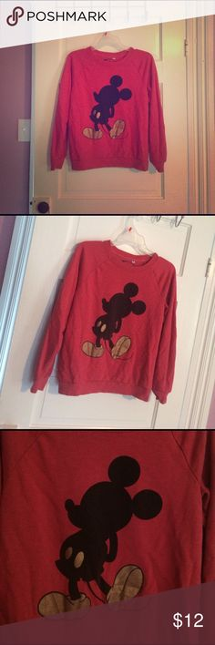 🎀Red Mickie Mouse sweater🎀 Red sweater with Mickie Mouse printed on front. Very comfortable and warm. Good condition. Size M.☺💖 Disney Sweaters Crew & Scoop Necks