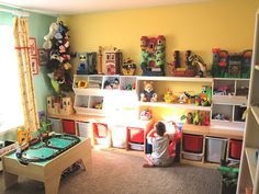Kids Room Designs, Awesome Kids Playroom Design Ideas Boys Playroom Ideas For Boys Toys Shelves Yellow Wall Paint Color And Combine With Green Carpet Elegant Unique Amazing: Creating Some Playroom Ideas For Boys In Your Special Room Part Of Your House Kids Bedroom Organization, Playroom Storage, Kid Toy Storage, Playroom Design, Kids Room Design, Playroom Ideas, Organization Ideas, Storage Room, Small Playroom