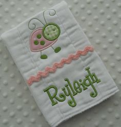 Items similar to ONE Pink and Green Personalized Burp cloth featuring an appliqued LaDyBuG Embroidered with baby's name on Etsy Baby Embroidery, Embroidery Monogram, Embroidery Ideas, Zine, Baby Burp Cloths, Burp Cloth Diapers, Baby Bibs, Burp Cloth Tutorial, Kit Bebe