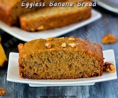 Eggless Banana Cake recipe / Eggless Banana Bread with step by step pictures with an amazing flavour of banana and the crunchiness of walnuts. Eggless Banana Bread Recipe, Eggless Recipes, Eggless Baking, Banana Bread Recipes, Cake Recipes, Snack Recipes, Dessert Recipes, Cooking Recipes, Desserts