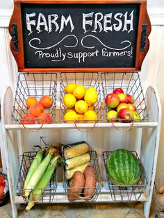 Blanket rack farmhouse vegetable stand, by Redo It Yourself Inspirations, featured on Funky Junk Interiors