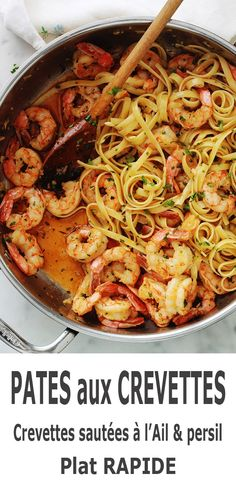 Garlic and parsley shrimp pasta, quick recipe - A simple, quick recipe (less than 15 minutes): pasta with garlic and parsley shrimp. Healthy Recipes For Diabetics, Healthy Gluten Free Recipes, Healthy Pasta Recipes, Quick Recipes, Mexican Food Recipes, Beef Recipes, Healthy Meals, Creamy Cheesecake Recipe, Turtle Cheesecake Recipes