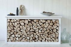 firewood storage and creative firewood rack ideas for indoor. Lots of great building tutorials and DIY-friendly inspirations! Indoor Log Storage, Indoor Firewood Rack, Firewood Holder, Log Store Indoor, Wood Store, Into The Woods, Scandinavian Home, Wood Shelves, Wood Boxes