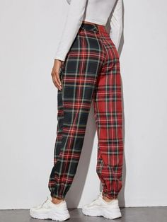 ((Affiliate Link)) Description Style:Preppy Color:Multicolor Pattern Type:Tartan Details:Button, Chain, Zipper Pant Length:Long Type:Tapered/Carrot Season:Spring/Summer/Fall Composition:15% Cotton, 85% Polyester Material:Polyester Fabric:Non-stretch Sheer:No Fit Type:Regular Waist Type:Mid Waist Closure Type:Button Fly, Zipper Fly Tartan, Diy Fashion, Fashion Outfits, Parachute Pants, Autumn Summer, Detail, Preppy, Chain, Pajama Pants