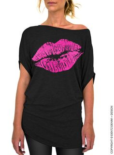 Lips Slouchy Tee - Lipstick Kiss - Valentine's Day - Black with Pink Longer Length Slouchy Tee (Small - Plus Sizes) by DentzDenim