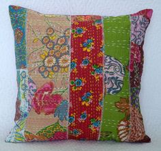 patchworked, kantha stitched bedcovers and pillows