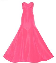 Oscar de la Renta   What we've got here is a Vivid Pink Silk Faille Gown that's going to take You to the Ball.  It has a Fitted Bodice with a Sweetheart Top-Line that hugs your curves to Mid-Hip, then Flares to an Extravant Skirt that ends in a Short Train. Wow! I'm going to go Bi-Color - Rubies! I love an Artful Clash. Such Energy!  We've got Necklace, Earrings and A Ring. Add Red Sandals and a Red Crystal Clutch. (It's all on this board).  Take that energy to the Ball and Dance…