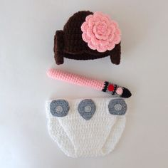 Princess Leia Baby Hat And Diaper Cover With Light by KernelCrafts