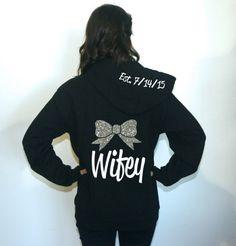Wifey hoodie sweatshirt with bow. Unisex S-3XL. Cute bow hoodie. Wedding date hoodie. Wifey sweatshirt. Wifey Hoodie. Honeymoon sweatshirt by BrideAndEntourage on Etsy https://www.etsy.com/listing/220849180/wifey-hoodie-sweatshirt-with-bow-unisex