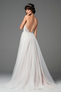 Willowby Esperance 58701 high neckline lace bridal gown with a soft gathered tulle a-line skirt. Please contact either stores for pricing and appointment details. Soft Wedding Dresses, Ethereal Wedding Dress, Designer Wedding Dresses, Bridal Dresses, Wedding Gowns, Tulle Wedding, Dream Wedding, 2017 Wedding, Women's Dresses