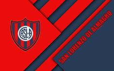 Download wallpapers San Lorenzo de Almagro, Argentine football club, 4k, material design, red blue abstraction, Buenos Aires, Argentina, football, Argentine Superleague, First Division