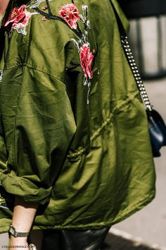 jacket tumblr green jacket embroidered army green jacket embellished embellished jacket floral