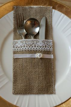 Burlap  silverware pockets  place cards set by Littlewhiteboutique, $15.00