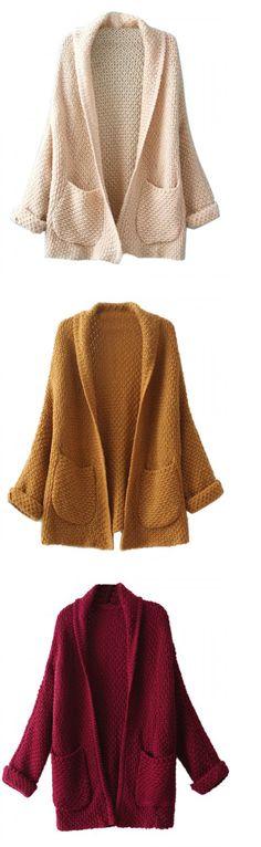 Burgundy Lapel Pocket Detail Open Front Long Sleeve Knit Cardigan
