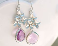 Lavender Earring with Blossom on Sterling Earwire - Lavendar Lilac Light Purple Drop Earrings - Bridesmaid Earrings, Bridal, Gifts