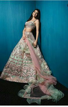 Gorgeous light green silver bridesmaids lehenga on Allana Pandey. Indian Wedding Outfits, Bridal Outfits, Indian Outfits, Indian Clothes, Wedding Dresses, Indian Lehenga, Lehenga Choli, Anarkali, Sabyasachi