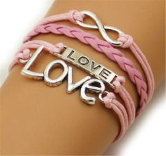 Fashion Lady Retro Love,love,infinity Bracelet in Silver Color - Pink Wax Cords and Leather Braid Strands Bracelet Suede Rope Bracelet Gift Whatland,http://www.amazon.com/dp/B00J21W4H0/ref=cm_sw_r_pi_dp_5vcEtb1KB3P5DY88