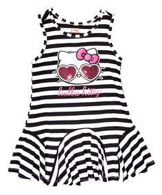 Love this True Black Stripe Hello Kitty Ruffle Dress - Girls by Hello Kitty on #zulily! #zulilyfinds