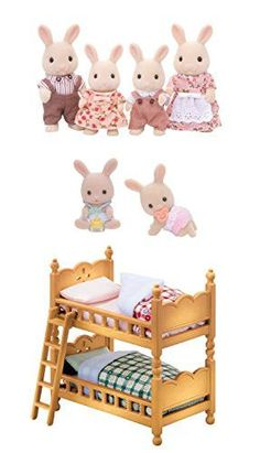 3 Separate Stuffed Animal and Furniture Sets - Milk Rabbit Family, Rabbit Twins and Double Bunk Bed (Japan Import)