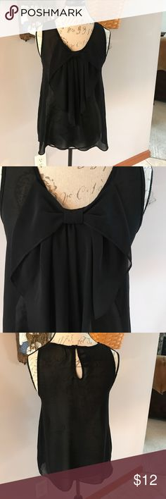 Sheer bow front tank size junior XL Wear to work or wear out. Dress up or down. Iz Byer Tops Tank Tops