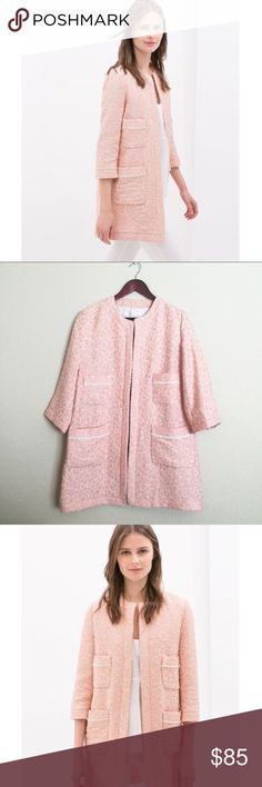 "Zara Jacquard Pink Spring Coat Beautiful Zara Jacquard blush pink open front lightweight coat. Size XL. 🌸 It's a very classy and versatile piece for the spring! 🌸 Features 4 front pockets. Measures: armpit to armpit 22""// shoulder to bottom 33""// shoulder to cuff 18.5"". Gently worn and in great condition. Please ask questions 💫 Zara Jackets & Coats"