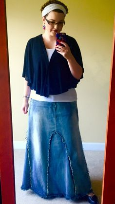 Freedom Fringe Long Jean Skirt from Style J #denim #denimskirt #longdenimskirt #modest #modesty #modestfashion #modestskirtoutfit #fall #shrug #braids