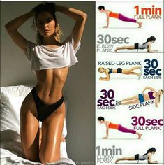 he plank is one of the best exercises for a flat, toned stomach because it works. - he plank is one of the best exercises for a flat, toned stomach because it works all the muscles in - Core Workout Routine, Gym Workout Tips, Fitness Workout For Women, Body Fitness, Workout Challenge, Easy Workouts, Workout Videos, At Home Workouts, Physical Fitness