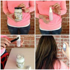 Coconut-Hair 1. Add 2 to 3 tablespoonfuls of coconut oil to the spray bottle 2. Fill the rest of the spray bottle with warm water (the coconut oil will melt right away) and fasten the top of the spray bottle. Shake well. 3. Spritz the oil onto damp or dry locks.