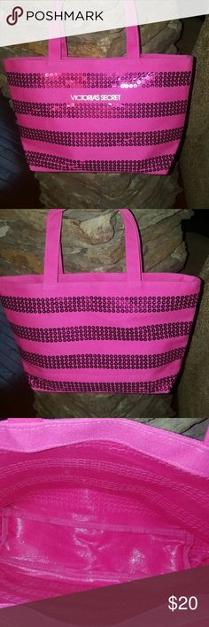 Victoria Secrets  Tote Bag NWOT- This is a new small tote or make up bag. From a pet & smoke free home.  Inside is vinyl lining. Thanks for stopping by my closet & Feel free to stop by my closet anytime as items are added weekly 😉 HAPPY POSHING !!!🌻🌻🌻 Victoria's Secret Bags
