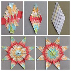 """This is such a clever way to make a mini lone star block--found in the book """"Little Lone Star Quilts"""". It does take awhile so now I need to decide if I want to go with my original plan to make several of these or if it is going to become the center of something. #summersewing #paperpiecing #lonestar"""