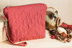 Quilted cosmetic bag terracotta linen zip makeup bag by SomBags