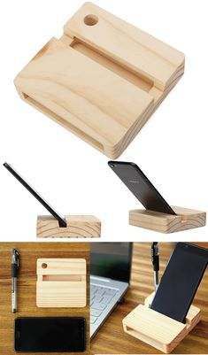 Wood Cell Phone Stand Dock with Sound Amplifier Amplifier Cell Phone Stand, Cell Phone Holder, Wooden Phone Holder, Woodworking Projects Diy, Diy Craft Projects, Office Desk Supplies, Business Card Displays, Wooden Speakers, Stationary Organization