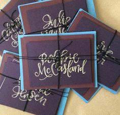 Custom notecards lettered by laurenish design Hand Lettering Envelopes, Pretty Letters, Envelope Addressing, Note Cards, Stamps, Etsy Seller, Calligraphy, Creative, Frame