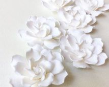 White Gardenia hair flower. Hair clip polymer clay flower for wedding.   Gardenia on alligator clip.