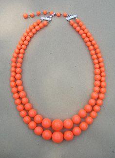 vintage neon orange necklace