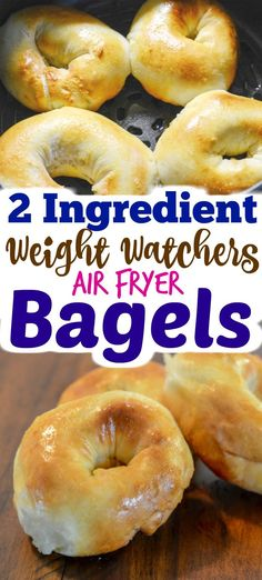 Air Fryer 2 Ingredient Weight Watcher Friendly Bagels Air Fryer 2 Ingredient Bagels are as easy as it gets to making homemade bagels. No yeast, no boiling, and they are done in a hurry. Best of all these 2 ingredient bagels are Weight Watchers friendly! Air Frier Recipes, Air Fryer Oven Recipes, Air Fryer Dinner Recipes, Weight Watchers Breakfast, Weight Watchers Meals, Ww Recipes, Cooking Recipes, Nutella Recipes, Easy Cooking
