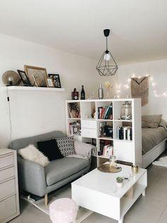 Studio Apartment Living, Studio Apartments, Studio Apartment Decorating, Apartment Design, Small Apartments, Apartment Ideas, White Apartment, Studio Living, Living Room On A Budget